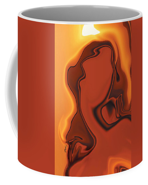 Abuse Adverse Art Beauty Brown Copper Digital Girl Golden Human Orange Red Right Venus Violence Wall Coffee Mug featuring the digital art Daughter Of Venus by Rabi Khan