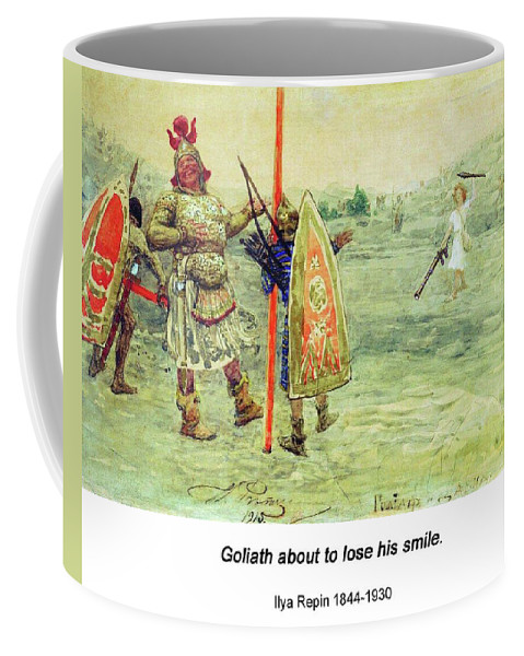 Altered Art Coffee Mug featuring the digital art David And Goliath by John Saunders