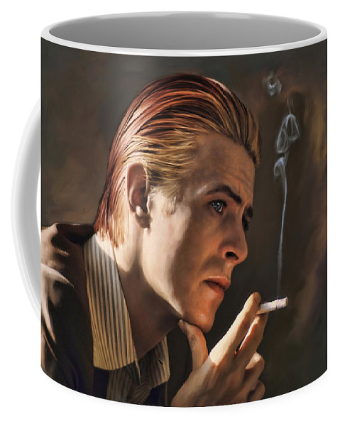 Singer Coffee Mug featuring the painting David Bowie by Mark Higgins