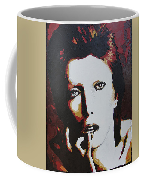 David Bowie Coffee Mug featuring the painting David Bowie by Ricklene Wren