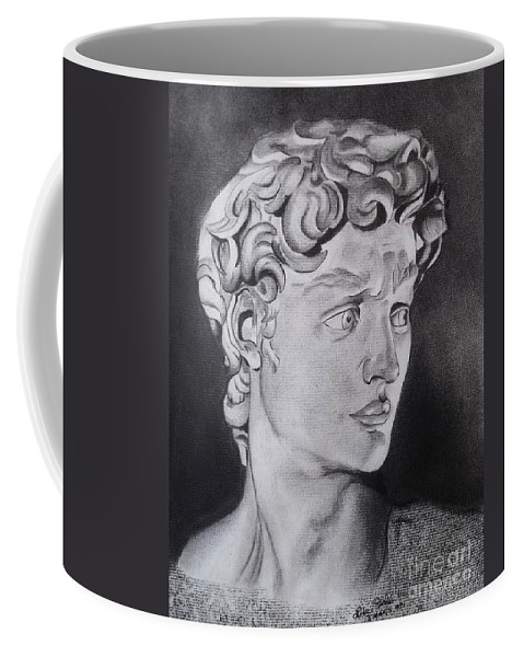 Statue Of David By Michaelangelo Coffee Mug featuring the drawing David In Pencil by Lise PICHE