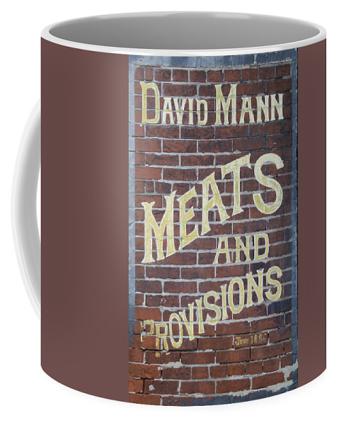 David Coffee Mug featuring the photograph David Mann - Meats And Provisions by Bill Cannon