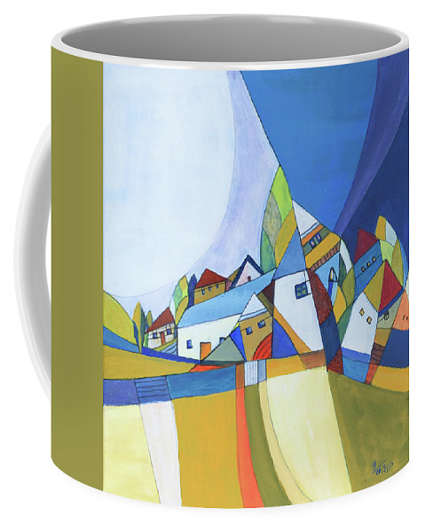 Acrylic Coffee Mug featuring the painting Dawn by Aniko Hencz