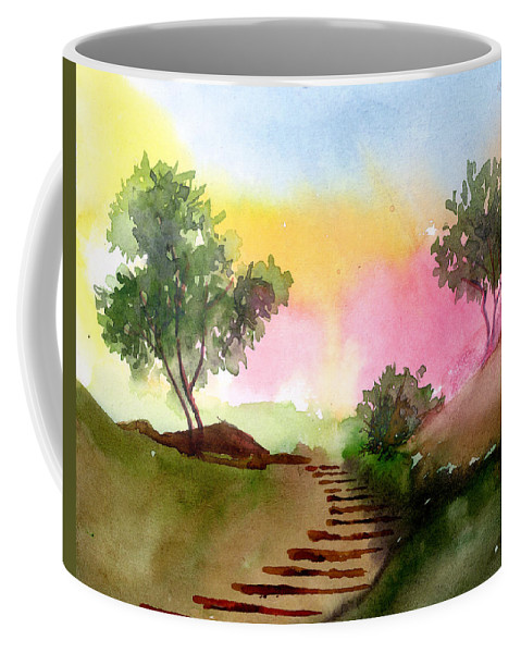 Landscape Coffee Mug featuring the painting Dawn by Anil Nene