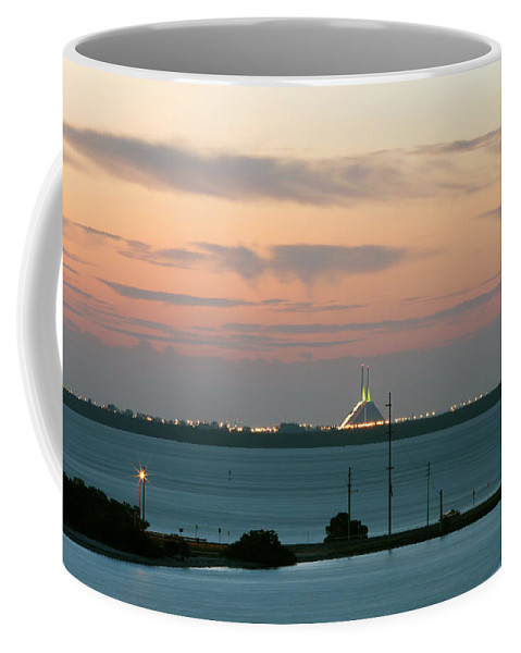 Sunshine Coffee Mug featuring the photograph Dawn At The Sunshine Skyway Bridge Viewed From Tierra Verde Florida by Mal Bray