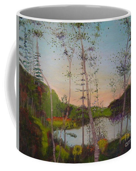 Landscape Coffee Mug featuring the painting Dawn By The Pond by Lilibeth Andre
