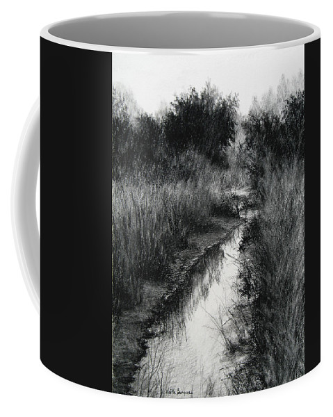 Charcoal Coffee Mug featuring the drawing Dawn Marsh by Keith Burgess