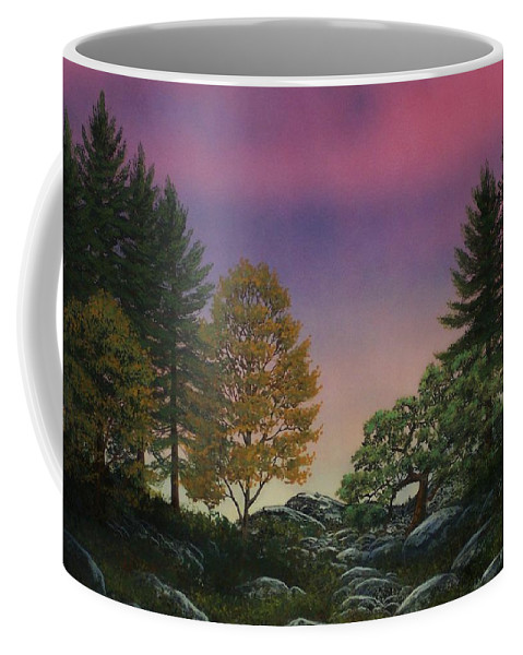 Mountains Coffee Mug featuring the painting Dawn Of Day by Frank Wilson