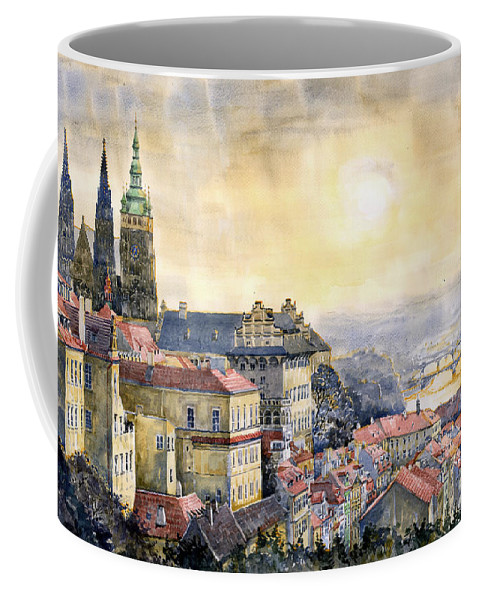 Watercolor Coffee Mug featuring the painting Dawn Of Prague by Yuriy Shevchuk