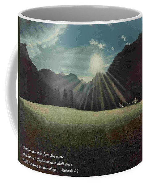 American Coffee Mug featuring the painting Dawn Riders With Verse by Anastasia Savage Ealy