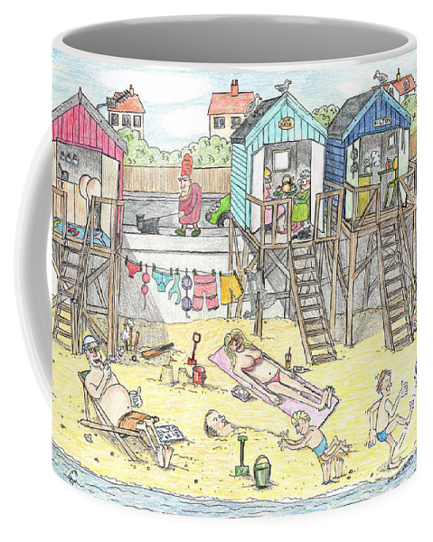 Beach Scene Coffee Mug featuring the drawing Day At The Felixstowe Hilton. by Steve Royce Griffin