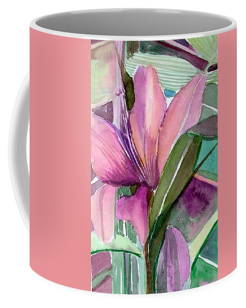 Flower Coffee Mug featuring the painting Day Lily Pink by Mindy Newman