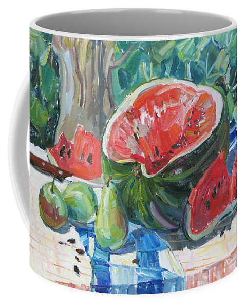 Summer Still-life Coffee Mug featuring the painting Day Of A Water-melon by Juliya Zhukova
