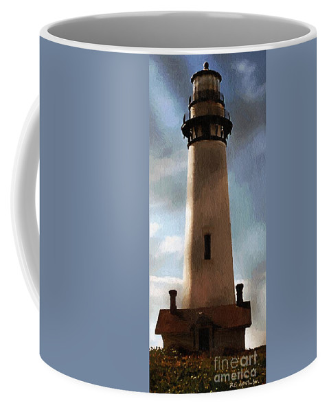 Lighthouse Coffee Mug featuring the painting Daybreak At Pigeon Point by RC DeWinter