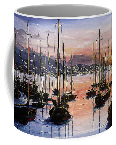 Seascape Painting Yacht Painting Harbour Painting Port Of Spain Trinidad And Tobago Painting Caribbean Painting Tropical Seascape Yachts  Painting Boats Dawn Breaking Greeting Card Painting Coffee Mug featuring the painting Daybreak by Karin Dawn Kelshall- Best