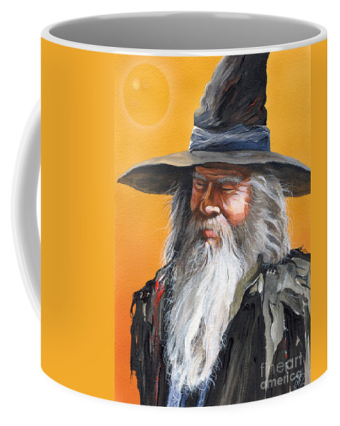 Fantasy Art Coffee Mug featuring the painting Daydream Wizard by J W Baker