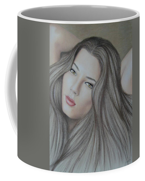 Woman Coffee Mug featuring the painting Daydreaming by Lynet McDonald