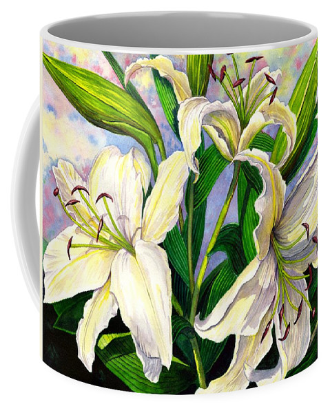 Lily Coffee Mug featuring the painting Daylilies 2 by Catherine G McElroy