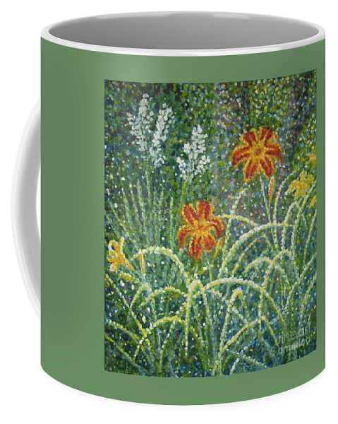 Daylilies Coffee Mug featuring the painting Daylilies And Yucca by Jim Rehlin