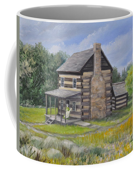 Log Cabin Coffee Mug featuring the painting Days Past by Penny Neimiller