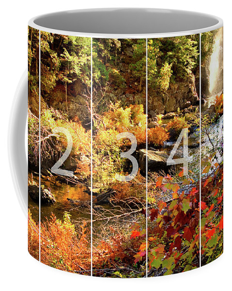 Dead River Falls Coffee Mug featuring the mixed media Dead River Falls Marquette Michigan Panoramic Map by Michael Bessler
