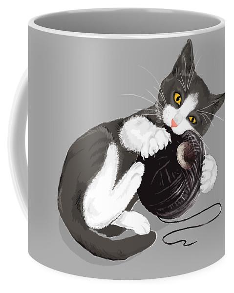 Death Star Coffee Mug featuring the digital art Death Star Kitty by Olga Shvartsur