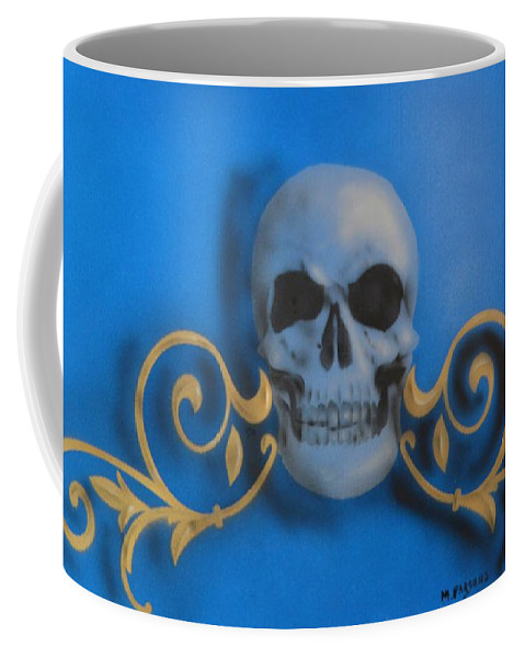 Blue Coffee Mug featuring the painting Death With A Flourish by Mike Parsons