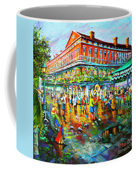 New Orleans Art Coffee Mug featuring the painting Decatur Evening by Dianne Parks