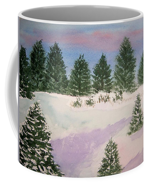 Landscape Coffee Mug featuring the painting December Afternoon by B Kathleen Fannin