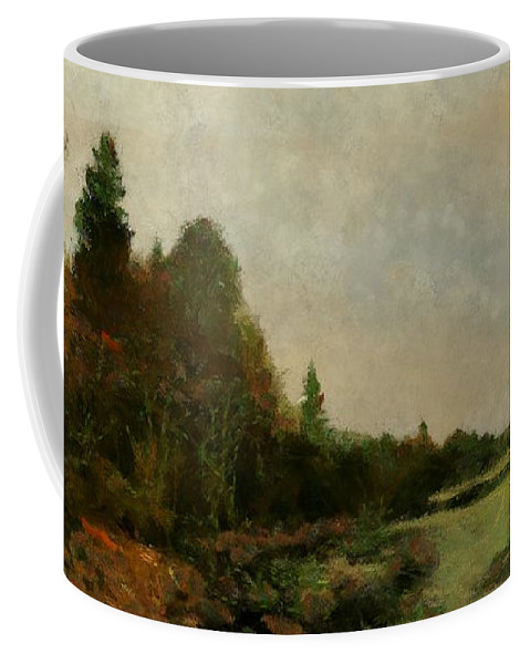 Landscape Coffee Mug featuring the painting December Dawn by RC DeWinter