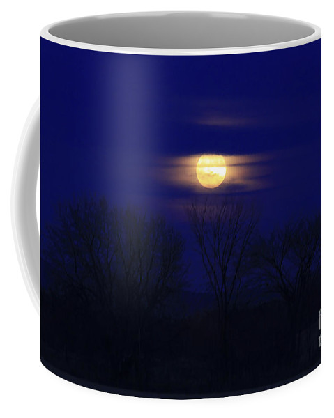 Moon Coffee Mug featuring the photograph December Moon by Deborah Benoit