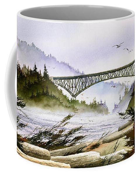 Landscape Fine Art Print Coffee Mug featuring the painting Deception Pass Bridge by James Williamson
