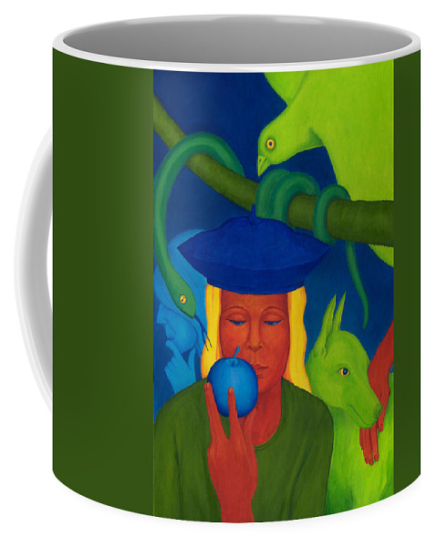 Surreal Coffee Mug featuring the painting Decision. by Andrzej Pietal
