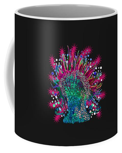 Anemone Coffee Mug featuring the digital art Deco Anemone by Adria Trail