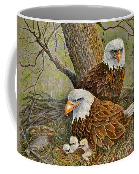 American Bald Eagles Coffee Mug featuring the drawing Decorah Eagle Family by Marilyn Smith