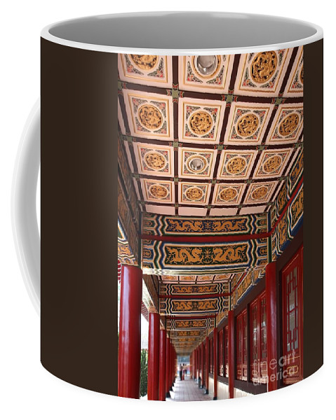 Taiwan Coffee Mug featuring the photograph Decorated Columned Hall Of A Chinese Temple by Yali Shi