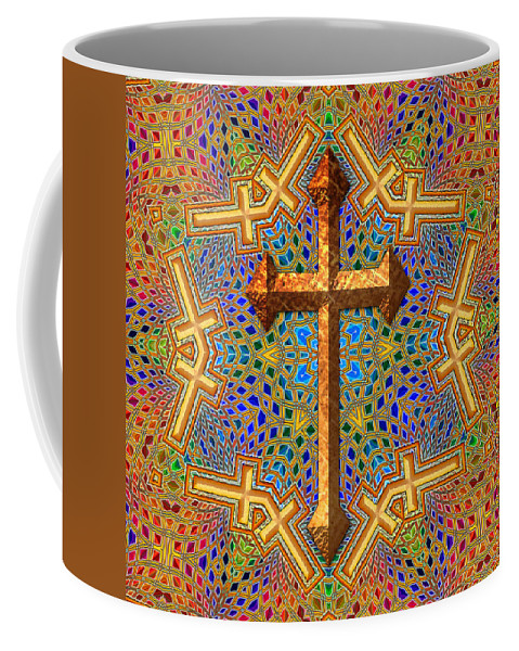 Cross Coffee Mug featuring the digital art Decorative Cross by David G Paul