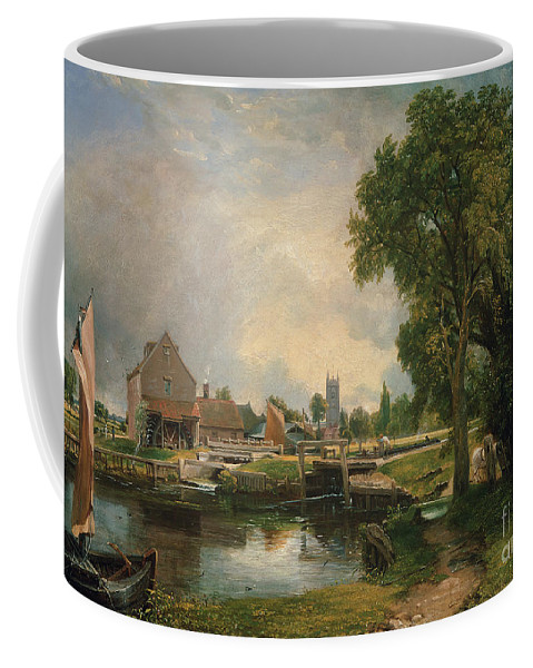 Dedham Coffee Mug featuring the painting Dedham Lock And Mill by John Constable