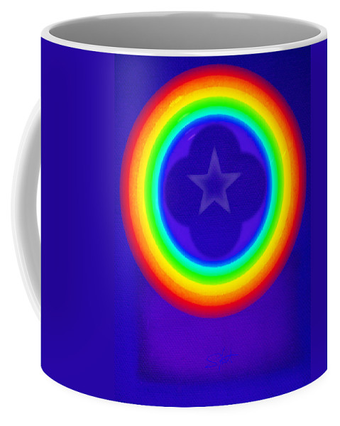 Abstract Coffee Mug featuring the painting Deep Blue See by Charles Stuart