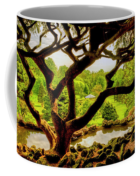 Recent Coffee Mug featuring the photograph Deep Cuts Gazebo Between The Tree Branches by Geraldine Scull