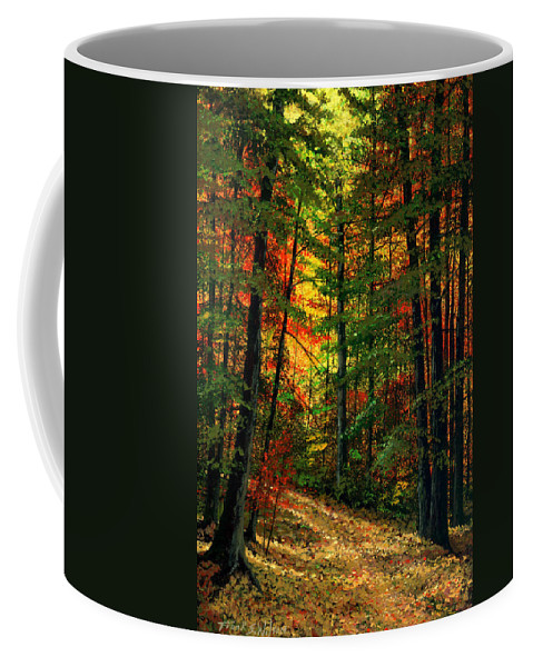 Landscape Coffee Mug featuring the painting Deep In The Forest by Frank Wilson
