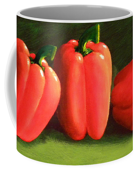 Peppers Coffee Mug featuring the painting Deep Red Peppers by Frank Wilson