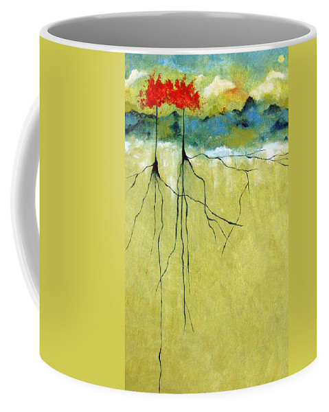 Abstract Coffee Mug featuring the painting Deep Roots by Ruth Palmer