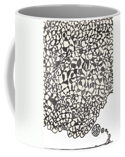 Abstract Coffee Mug featuring the drawing Deep Thoughts by Jean Haynes