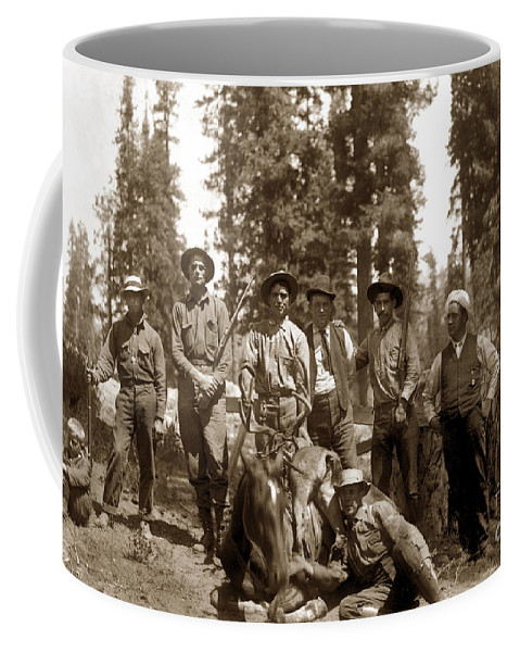 Deer Huters Coffee Mug featuring the photograph Deer Hunters With Rifles Circa 1917 by California Views Archives Mr Pat Hathaway Archives