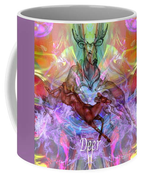 Deer Coffee Mug featuring the digital art Deer Moon by Rich Baker