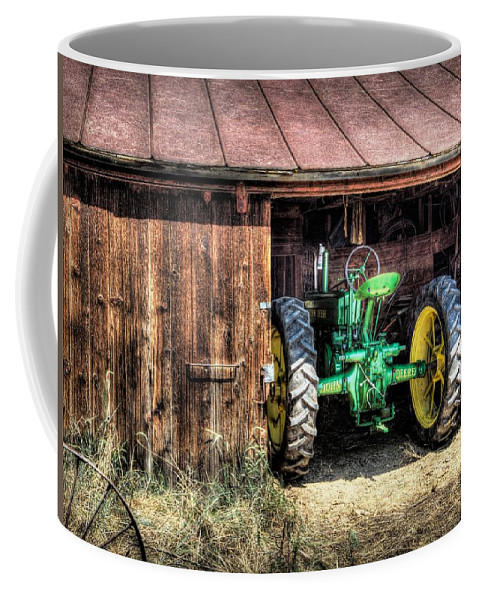 Tractor Coffee Mug featuring the photograph Deere In The Barn by Randy Waln