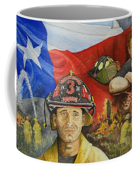 Firemen Coffee Mug featuring the painting Defending Texas by Gale Cochran-Smith