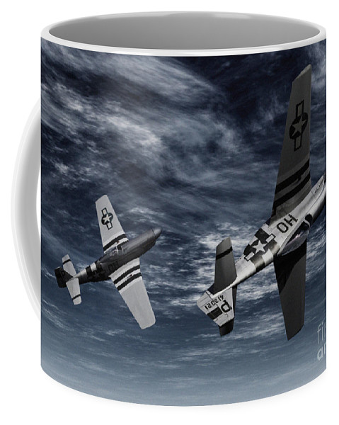 Aircombat Coffee Mug featuring the digital art Defensive Split by Richard Rizzo