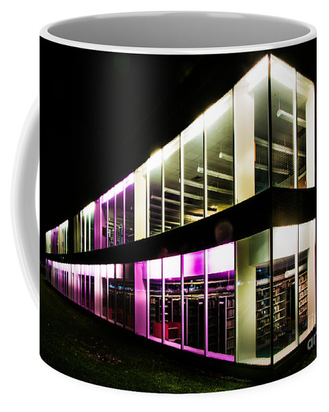 Defiance Coffee Mug featuring the photograph Defiance College Library Night Time by Michael Arend
